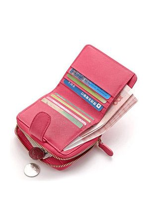 Newchic Women Genuine Leather Short Solid Wallet 6 Card Slot Purse