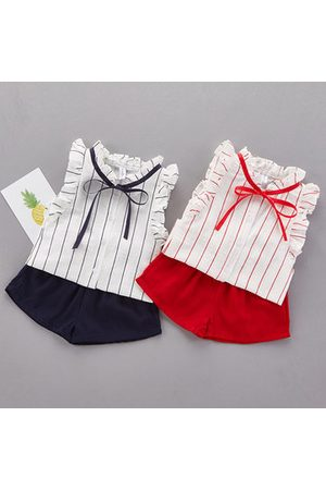 Newchic Casual Baby Girl Stripe Sleeveless Shirt Solid Shorts Two Piece Suits