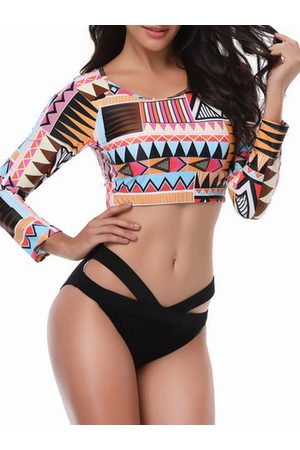 Newchic Women Long Sleeve - Plus Size Long-sleeved Criss-Cross Printed Tankini