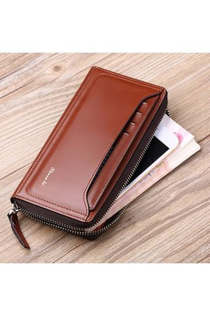 Newchic Men Laptop Bags - Genuine Leather Business Wallet Phone Clutch Bag