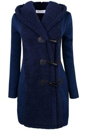 Newchic Casual Plush Patchwork Hooded Women Coats