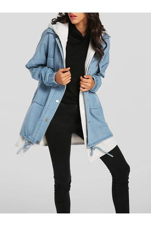 Newchic Denim Two Pieces Hooded Coats