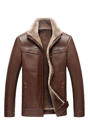 Newchic Faux Leather Thick Fleece Jacket