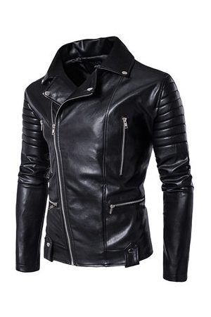 Newchic Black Motorcycle Mutil Zipper Leather Jacket