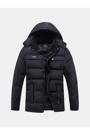 Newchic Outdoor Casual Thicken Warm Multi-Pockets Detachable Hood Padded Jacket For Men