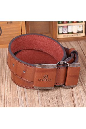 Newchic Men Business PU Leather Alloy Buckle Belts Casual Smooth Buckle Belt Waistband Strap