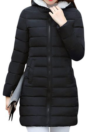 Newchic Solid Color Hooded Women Parkas