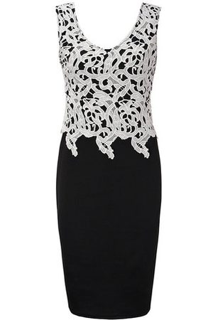 Newchic Sexy Lace Patchwork Sleeveless V-neck Party Pencil Dress