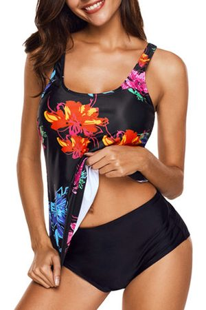 Newchic Plus Size Floral Printed Cover Belly Tankini Sets