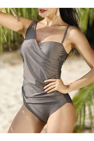 Newchic Plus Size Solid Color Slim One Piece Swimsuit
