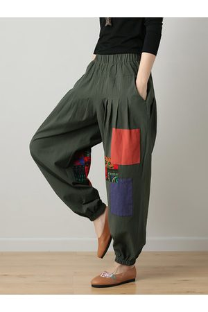 Newchic Ethnic Print Patchwork Women Pants