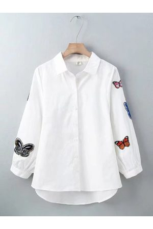 Newchic Embroidery Butterfly Lapel Long Sleeve Shirt