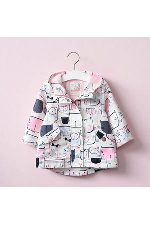 Newchic Cat Printed Girl Jacket Trench Coat