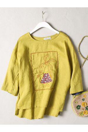 Newchic Casual Embroidery Irregular 3/4 Sleeve O-neck Shirt