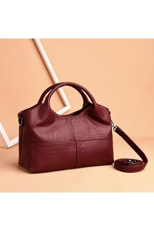 Newchic Women Handbags - Women Soft Leather Handbags Stitching Solid Shoulder Bags