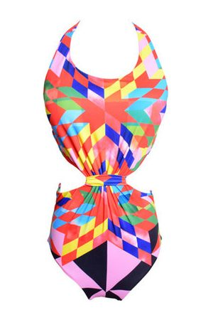 Newchic Printed Plaid Lacing One Piece Swimsuit