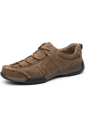 Newchic Men Cow Leather Wear-resistant Lace Up Outdoor Casual Shoes