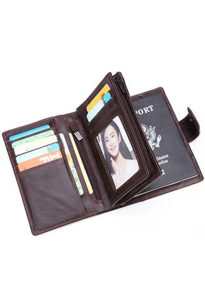 Newchic Men Business Multi-functional Passport Trifold Wallet