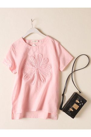 Newchic Casual Solid Flower Short Sleeve Shirt