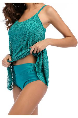 Newchic Lace Solid Color Cover Belly Tankini Sets