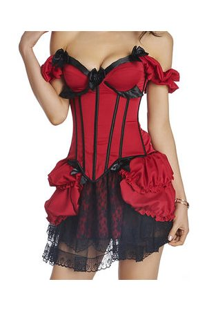 Newchic Sexy Off Shoulder Satin Overbust Corsets Push Up Underwire Bustiers For Women