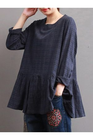 Newchic Loose Plaid Long Sleeve O-Neck Shirt