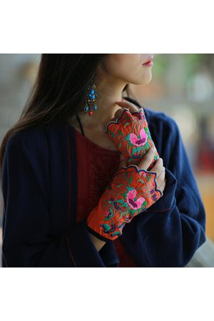 Newchic Women Vintage Ethnic Embroidery Fingerless Gloves