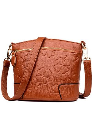 Newchic Women PU Leather Solid Shell Crossbody Bags Embossed Bags