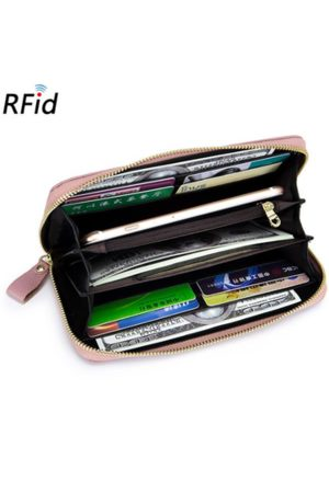 Newchic RFID Women Genuine Leather Floral Embossed Long Wallet