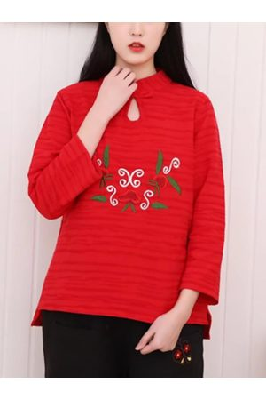 Newchic Women Long sleeves - Vintage Embroidery Frog Long Sleeve Shirt