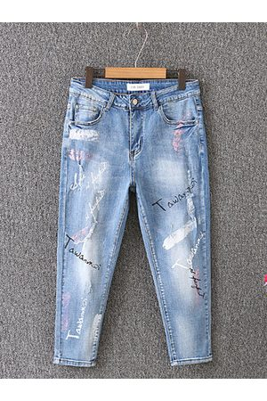 Newchic Casual Printed Mid-Waist Jeans Denim Pants