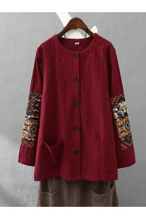 Newchic Women Coats - Ethnic Patchwork Pocket Long Sleeve Thin Coat