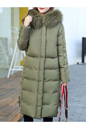 Newchic Pure Color Mid-Long Cotton Down Coats