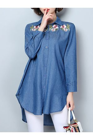 Newchic Embroidery Flower High-low Hem Long Sleeve Denim Shirt