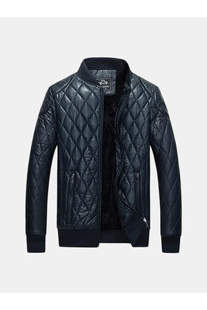 Newchic Men Leather Jackets - Stand Collar Padded Jacket