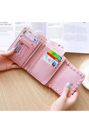 Newchic Women PU Leather Short Leather 5 Card Slot Wallet Solid Purs