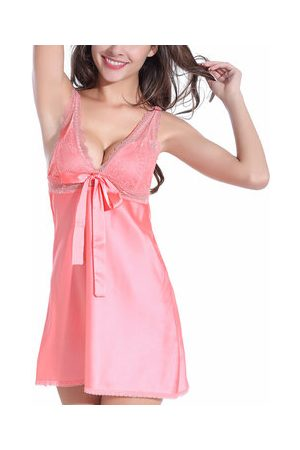 Newchic Sexy Lace Plunge Bowknot Satin Nightgown