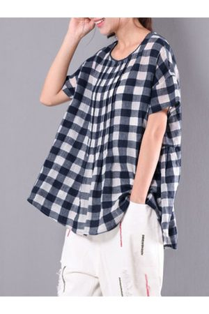 Newchic Vintage Plaid Irregular Hem Shirts