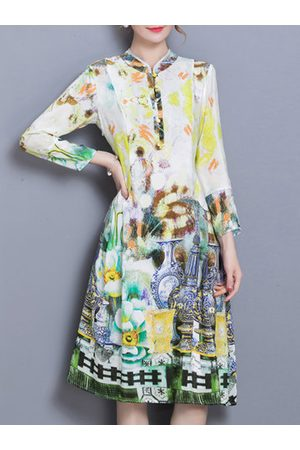 Newchic Vintage Printed Stand Collar Dresses