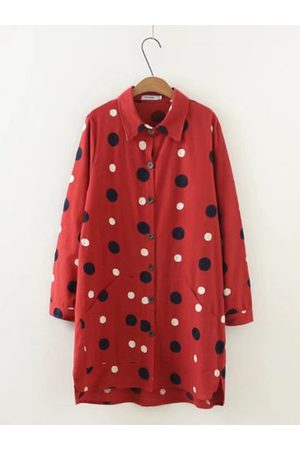 Newchic Embroidery Dot Long Sleeve Shirt Dress