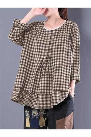 Newchic Casual Plaid Stitching Long Sleeve Shirt