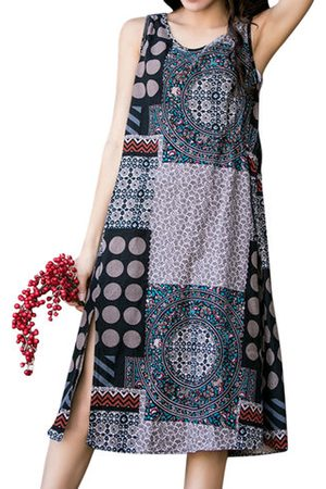 Newchic Ethnic Printed Sleeveless Vintage Dresses