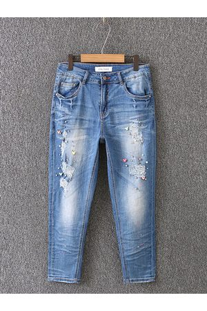 Newchic Casual Blue Holes Beading Denim Pants