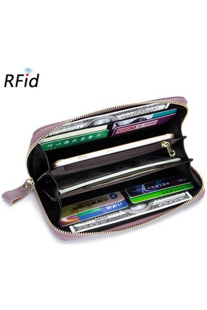 Newchic Women RFID Genuine Leather High Capacity Long Wallet