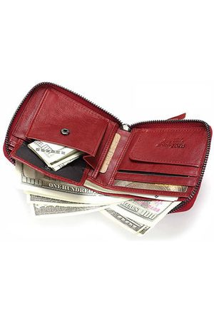 Newchic Women Genuine Leather Short Wallet 4 Card Slot