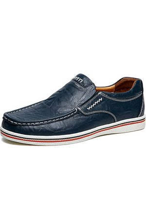 Newchic Men Soft Cow Leather Wear-resistant Slip On Casual Shoes