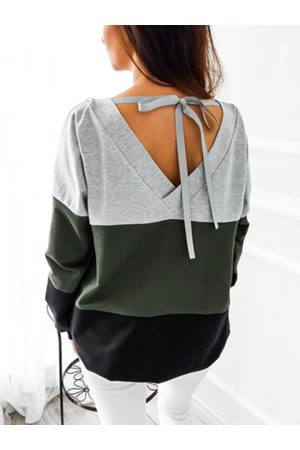 Newchic Color Block Long Sleeve Back Bow Tie Shirt for Women