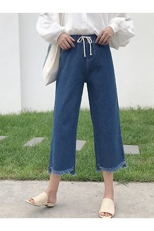 Newchic Elastic Waist Denim Blue Pants