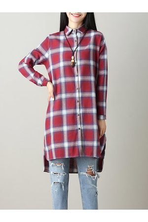 Newchic Casual Plaid Long Sleeve Lapel High Low Shirt