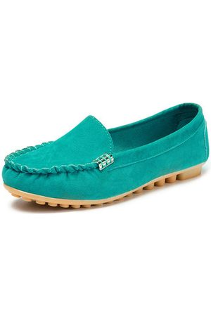 Newchic Metal Buckle Flat Portable Soft Colour Loafers For Women
